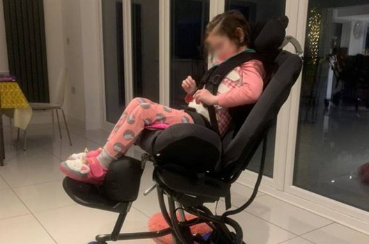 A brand-new mobility chair for young girl